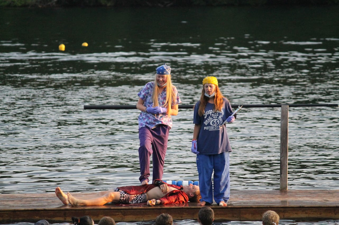 Doctor's on the dock during one of camps most popular wide games
