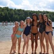 Girls standing guard on the Can-Aqua Dock