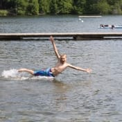Acting a bit crazy in the swimming area
