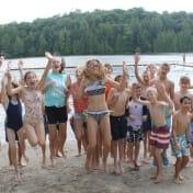 Team Swim Celebrates at the beach